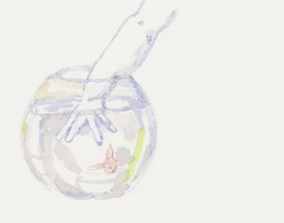 """""""Fisk"""" (Ausschnitt), Aquarell, 26 x 18 cm"""